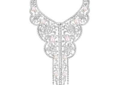 Chanel High Jewelry Collection LE PARIS RUSSE DE CHANEL SARAFANE necklace in white gold, cultured pearls and diamonds