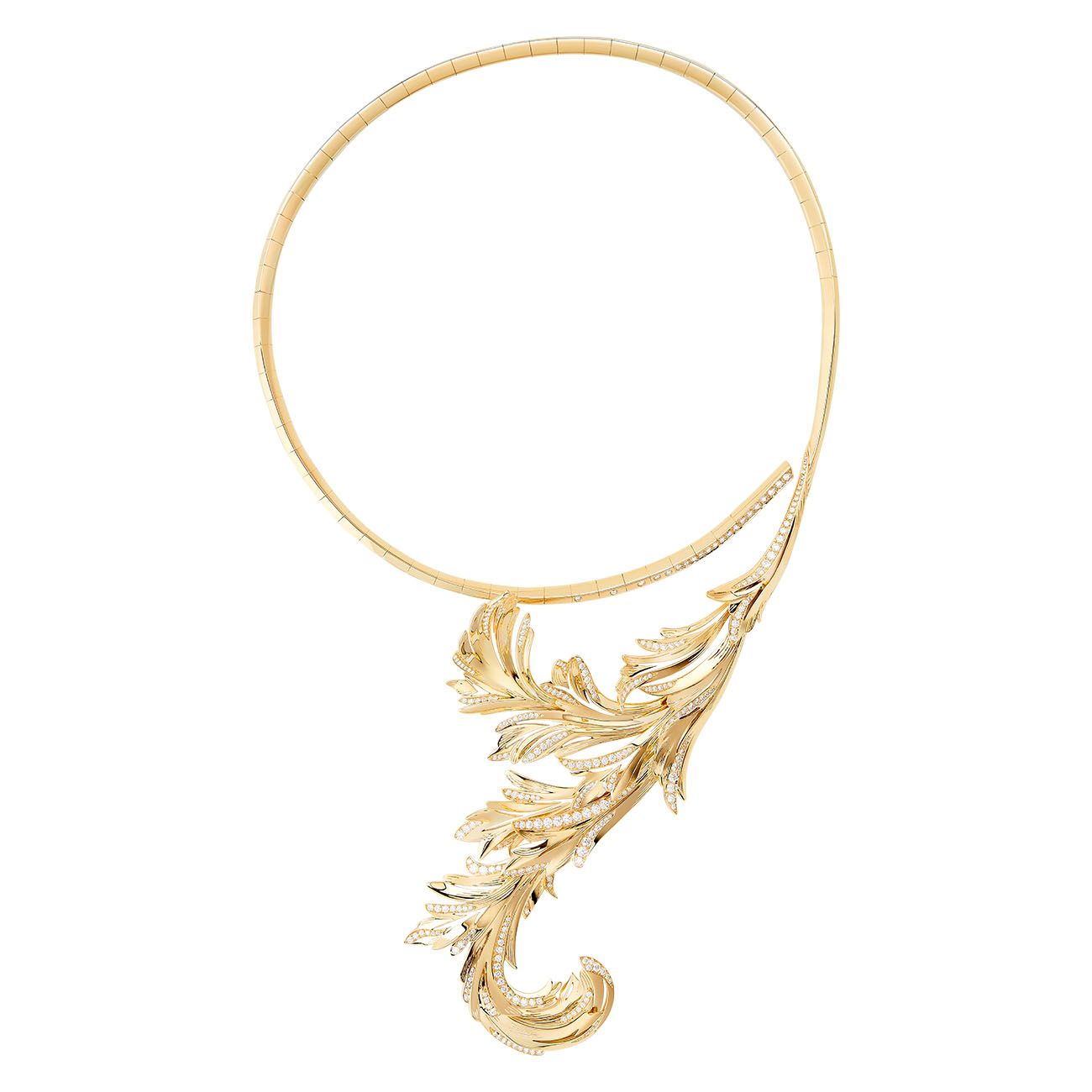 Boucheron - Feuilles d'Acanthe Question Mark necklace set with diamonds on yellow gold