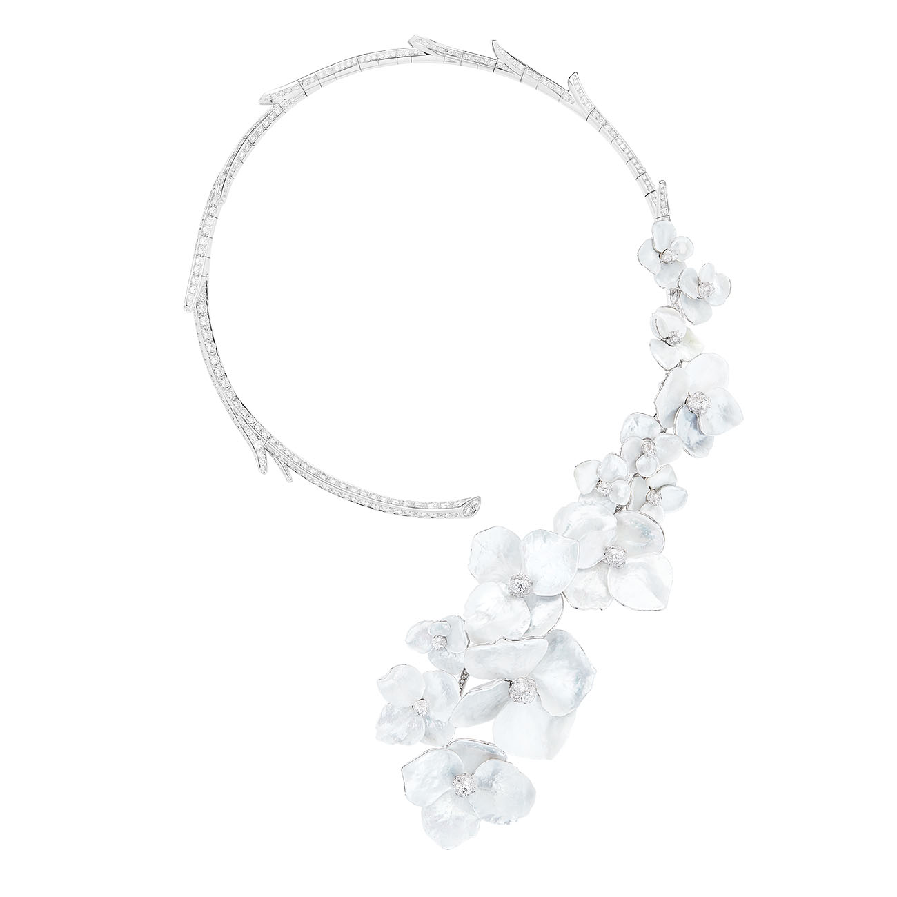 Boucheron - Nuage de Fleurs Question Mark necklace set with mother-of-pearl and diamonds