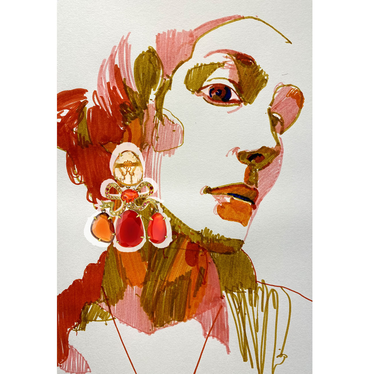 Lydia Courteille Amber Collection Earrings by Chris Gambrell Sm2